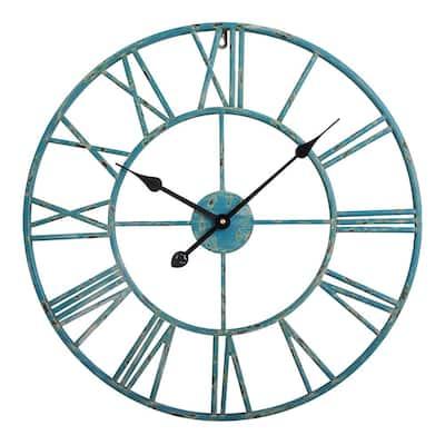 "Roman Round Wall Clock, Distressed Sea Green, 24"" Diameter"