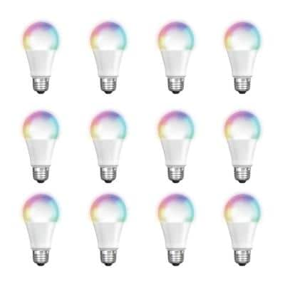 60-Watt Equivalent A19 Dimmable Full Color Changing Bluetooth Apple HomeKit LED Smart Light Bulb (12-Pack)
