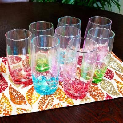 Karissa 8-Piece Assorted Colors Glass Tumbler Set