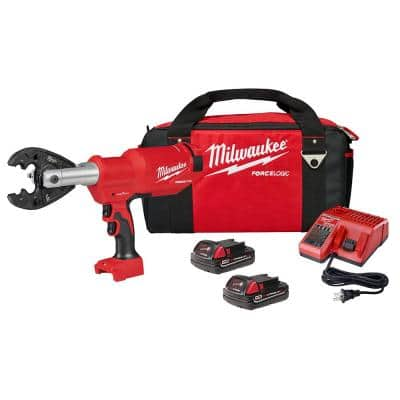 M18 18-Volt Lithium-Ion Cordless FORCE LOGIC 6-Ton Pistol Utility Crimping Kit with BG-D3 Jaws and 2 Batteries