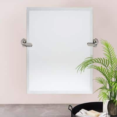 21 in. W x 24 in. H Framed Rectangular Bathroom Vanity Mirror in Brushed