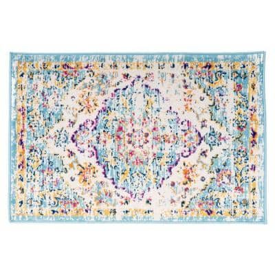 Vintage Traditional Bohemian 2 ft. x 3 ft. Blue Area Rug