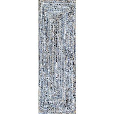 Otelia Solid Jute Denim 2 ft. 6 in. x 12 ft. Indoor Runner Rug