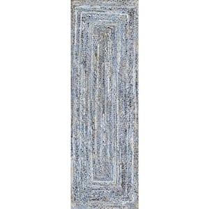 Otelia Solid Jute Denim 2 ft. 6 in. x 6 ft. Indoor Runner Rug