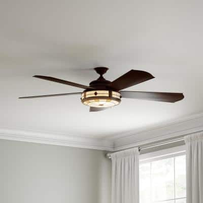Savona 52 in. LED Weathered Bronze Ceiling Fan with Light and Remote Control