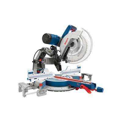 15 Amp 12 in. Corded Dual-Bevel Sliding Glide Miter Saw with 60 Tooth Saw Blade