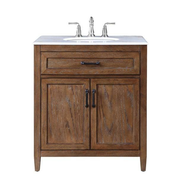 Home Decorators Collection Walden 31 In W Bath Vanity In Driftwood Gray With Vanity Top In White Marble With White Sink Bf 27045 Dg The Home Depot
