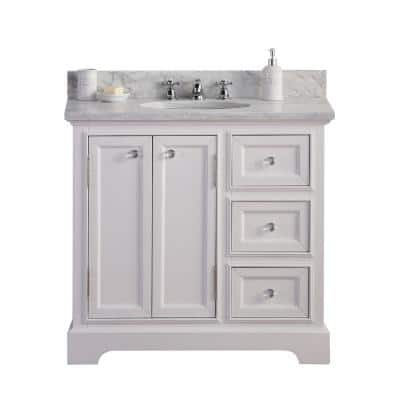 Derby 36 in. W x 34 in. H Vanity in white with Marble Vanity Top in Carrara White with White Basin and Faucet