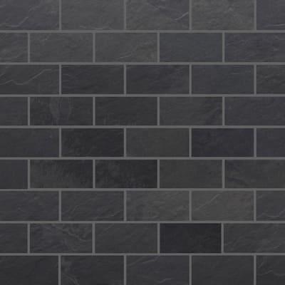 Galactic Slate Black Matte 12 in. x 14 in. x 9mm Brick Pattern Porcelain Mosaic (5 sq. ft./Case)