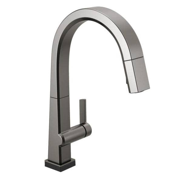 Delta Pivotal Single Handle Pull Down Sprayer Kitchen Faucet With Touch2o Technology And Magnatite Docking In Black Stainless 9193t Ks Dst The Home Depot