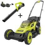 13 in. ONE+ 18-Volt Lithium-Ion Cordless Battery Walk Behind Push Lawn Mower and Leaf Blower with 4.0 Ah Battery/Charger