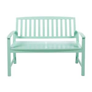 Loja 2-Person Light Mint Wood Outdoor Bench