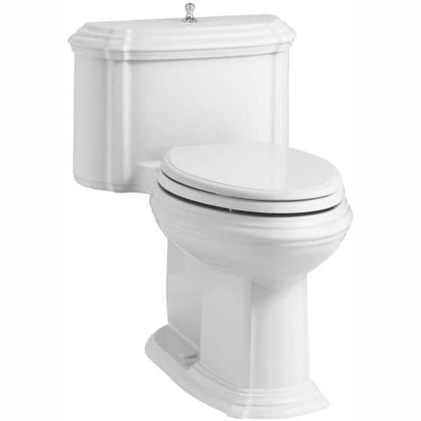 Kohler Portrait 1 Piece 1 28 Gpf Single Flush Elongated Toilet With Aquapiston Flush Technology In White Seat Included K 3826 0 The Home Depot