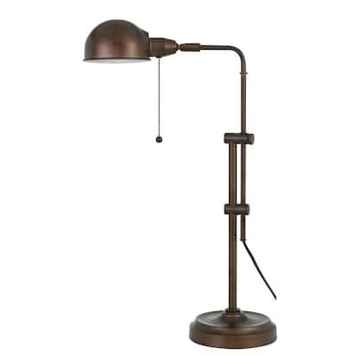 31 in. Rust Indoor Desk Lamp with Adjustable Pole