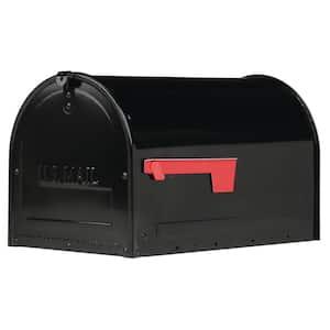 Marshall Large, Locking, Steel, Post-Mount Mailbox, Black
