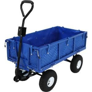 Heavy-Duty Steel Dumping Utility Garden Cart with Folding Sides and Poly Liner Set - Blue