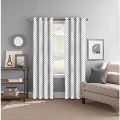 Grey Geometric Polyester 52 in. W x 84 in. L Grommet Room Darkening Curtain Panel