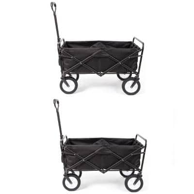 Collapsible Folding Frame Outdoor Garden Utility Wagon Cart in Black (2-Pack)