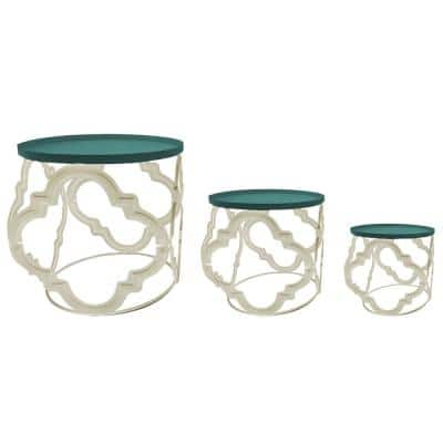 Cream/Green Iron Plant Stand (Set of 3)