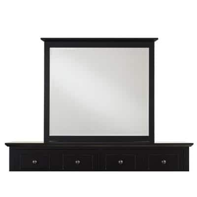Medium Rectangle Black Beveled Glass Classic Mirror (36 in. H x 41 in. W)