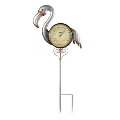 Flamingo Outdoor Thermometer Garden Stake and Backyard Decor