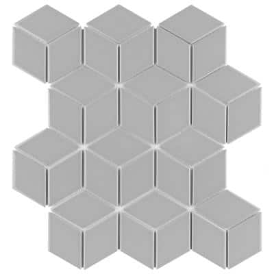 Metro Rhombus Glossy Light Grey 10-1/2 in. x 12-1/8 in. Porcelain Mosaic (9.04 sq. ft. / case)