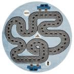 Whimsical Light Blue 5 ft. Round Indoor Area Rug