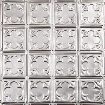 Pattern #35 in Brushed Satin Nickel 2 ft. x 2 ft. Nail Up Tin Ceiling Tile (20 sq. ft./Case)