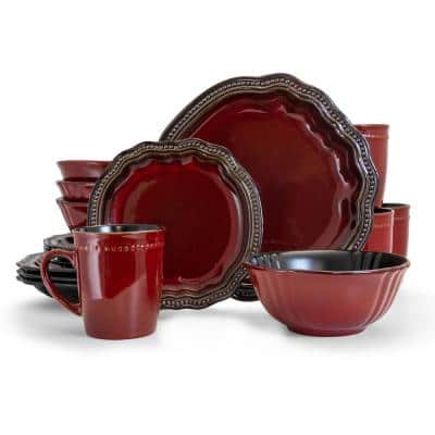 Regency 16-Piece Casual Red Stoneware Dinnerware Set (Service for 4)