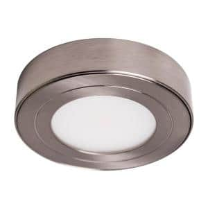 PureVue Dimmable Soft-Bright White (3000K) LED Brushed Steel Puck Light