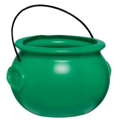 6 in. St. Patrick's Day Green Plastic Pot of Gold Cauldron (3-Pack)