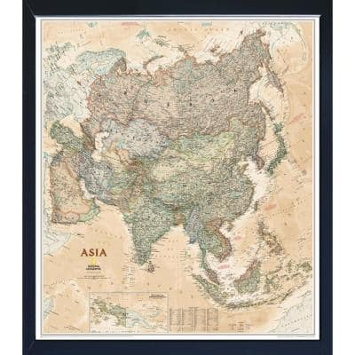 National Geographic Framed Interactive Wall Art Travel Map with Magnets - Asia Executive