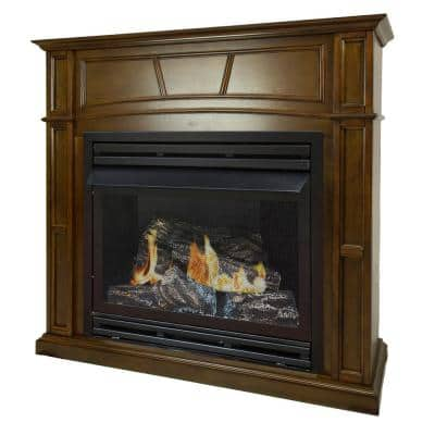 32,000 BTU 46 in. Full Size Ventless Natural Gas Fireplace in Heritage