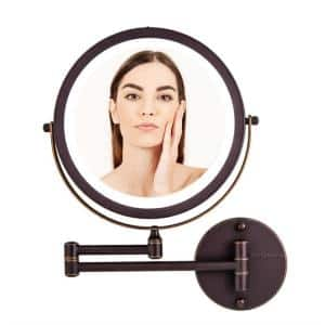 13.2 in. H x 1.6 in. W, Small Round Antique Bronze Lighted Framed Glam Vanity Mirror, 1x 7x Magnification
