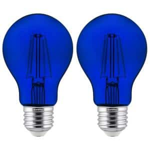 60-Watt Equivalent A19 Dimmable Filament E26 Medium Base LED Light Bulb in Blue (2-Pack)