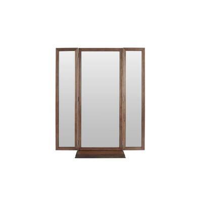 Walnut Finish Tri Fold Standing Mirror (27.80 in W. X 61 in H.)