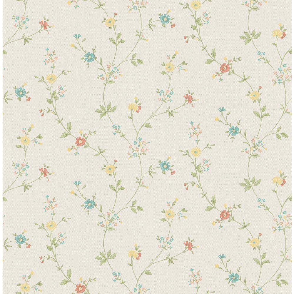 Advantage Sameulsson Cream Small Floral Trail Cream Wallpaper Sample 2813 24985sam The Home Depot