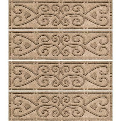 Scroll 8.5 in. x 30 in. Stair Treads (Set of 4) Camel