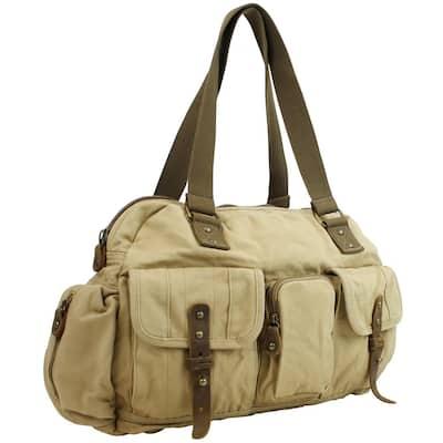 18 in. Khaki Medium Hand Lift Shoulder Carry Canvas Travel Overnight Duffel Bag