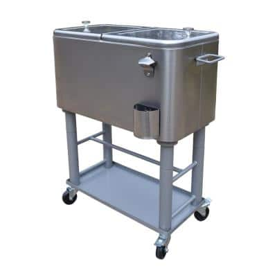 Stainless Steel 15 Gal. Party Cooler Cart with Drain System Bottle Opener Caps Holder and Lock Wheels
