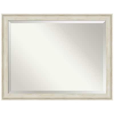 Medium Rectangle Regal Birch Cream Beveled Glass Casual Mirror (35 in. H x 45 in. W)