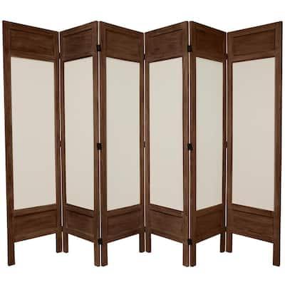 5.5 ft. Burnt Brown Solid Muslin 6-Panel Room Divider