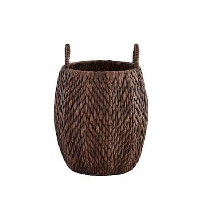 Round Brown Woven Water Hyacinth Decorative Poppy Basket