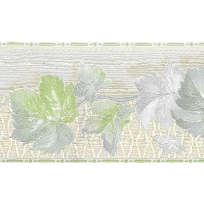 Falkirk Brin Leaves On Vine Green, Beige Wallpaper Border