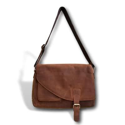 Brown Genuine Soft Leather Messenger Bag