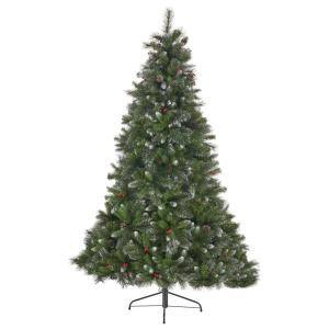 4.5 ft. Unlit Mixed Spruce Hinged Artificial Christmas Tree with Glitter Branches, Berries and Pinecones