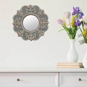 Small Round Gray Casual Mirror (7.874 in. H x 7.874 in. W)
