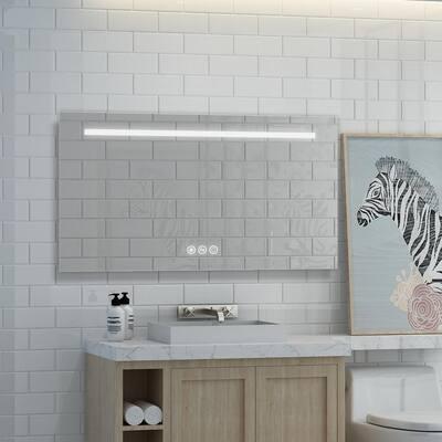 42 in. W x 24 in. H Frameless Rectangular LED Light Bathroom Vanity Mirror in Clear
