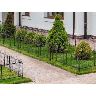 24 in. H Black Iron Garden Fence Outdoor Thicken Metal Wire Fencing Rustproof 4-Panels