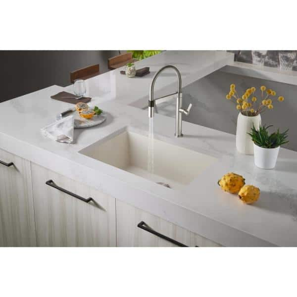 Blanco Precis Undermount Granite Composite 27 In Single Bowl Kitchen Sink Biscuit 522430 The Home Depot